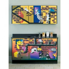 Clinton ''Alley Cats and Dogs'' Base and Wall Cabinets