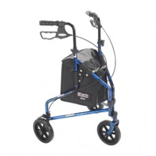 Drive 3 Wheel Flame Blue Rollator Walker with Basket Tray and Pouch