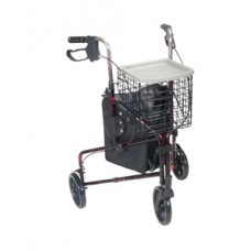 Drive 3 Wheel Flame Red Rollator Walker with Basket Tray and Pouch