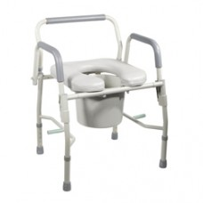 Drive Steel Drop Arm Bedside Commode with Padded Seat and Arms