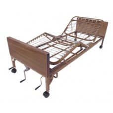Drive Multi Height Manual Hospital Bed with Full Rails and Therapeutic Support Mattress