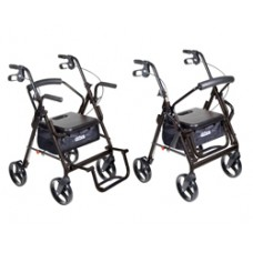 Drive Duet Black Transport Wheelchair Rollator Walker