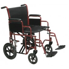 Drive Bariatric Heavy Duty Red Transport Wheelchair with Swing Away Footrest