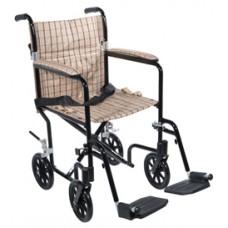 Drive 17'' Flyweight Lightweight Tan Plaid Transport Wheelchair