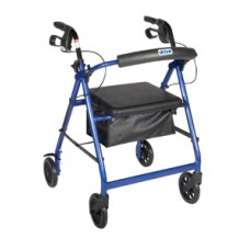 Drive Blue Rollator Walker with Fold Up and Removable Back Support and Padded Seat