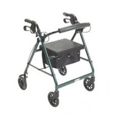 Drive Green Rollator Walker with Fold Up and Removable Back Support and Padded Seat