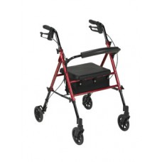Drive Adjustable Height Red Rollator with 6'' Wheels