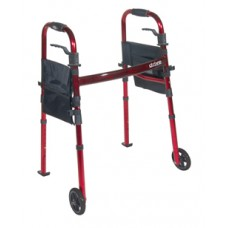 Drive Portable Folding Travel Walker with 5'' Wheels and Fold up Legs