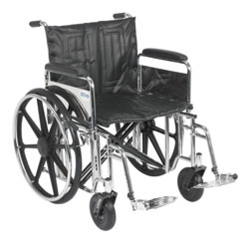 Drive Sentra Extra Heavy Duty Wheelchair with Detachable Full Arms and  Swing Away Footrest