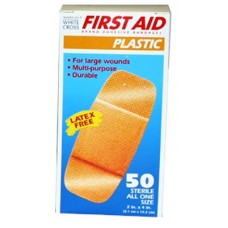 "Dukal American White Cross Large Plastic Bandaid- 2"" x 4"" - Bx50"