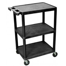 Luxor Black 3 Shelf EKG Cart